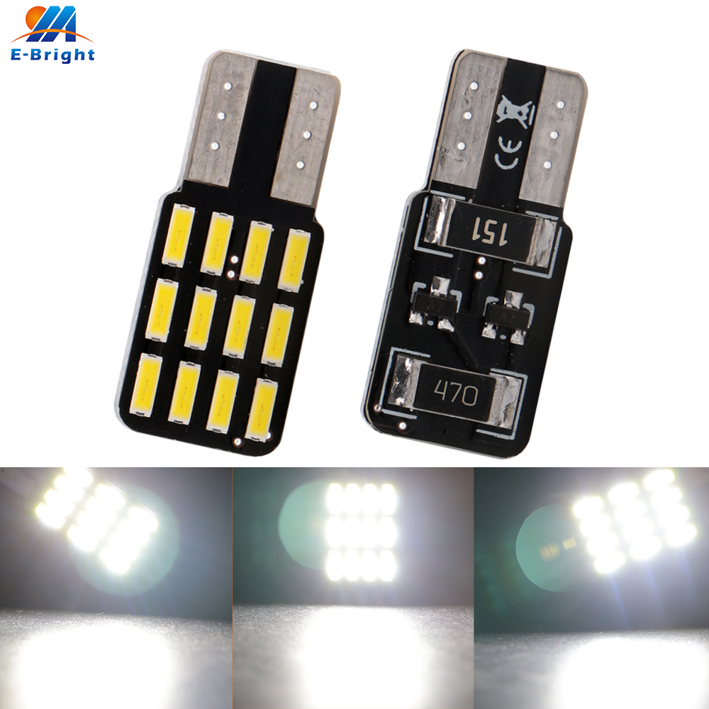 20X 12V <font><b>T10</b></font> <font><b>Canbus</b></font> 4014 12 SMD w5w 194 LED Bulbs License Plate Clearance Lights Luggage Compartment Lights 240LM no error image