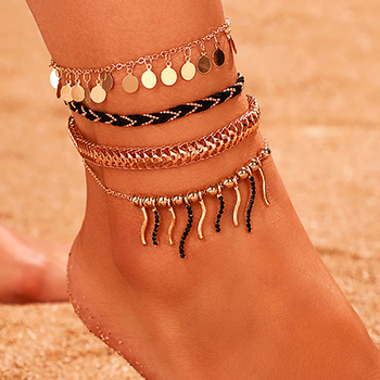 ZHINI New Beach Foot Jewelry Leg Chain Anklets For Women 4Pcs/set Bohemia Sequins Pendant Ankle Beaclet Tobilleras Mujer