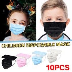 Crianças máscara protetora de boca preta cor sólida descartável rosto coverthree-layer seguro à prova de poeira à prova de vento mondkapjes kinderen