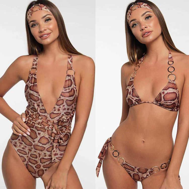 Сексуальный купальный костюм для женщин, закрытый женский раздельный трикини, цельный купальный костюм, цельный 2019, дутые костюмы, змея