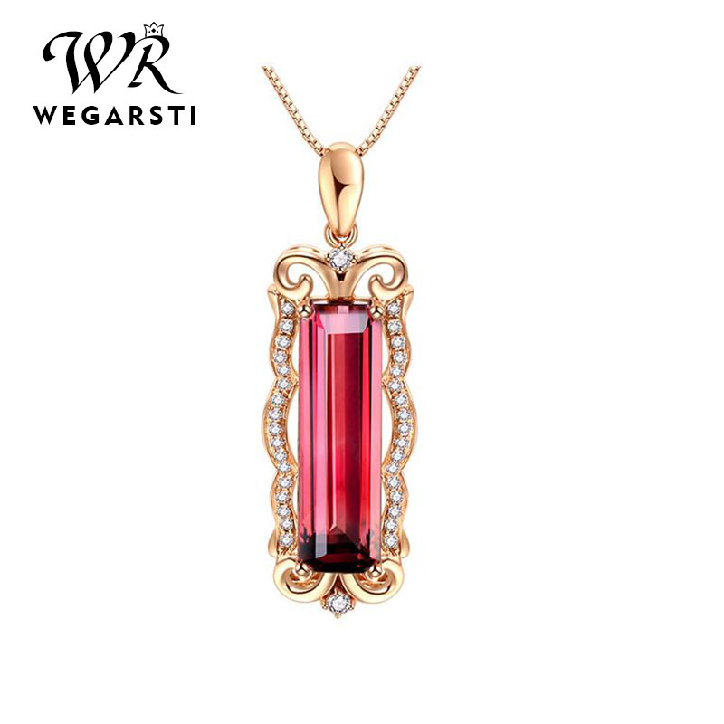 WEGERSTI 925 Silver Jewelry Ruby Pendant Necklaces Vintage Ladies Fine Jewelry For Women Red Natural Gemstone Long Pendant