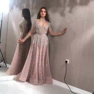 Image 2 - Роскошное вечернее платье с длинными рукавами 2020, расшитое бисером, с высоким воротником, женские платья для особых случаев, сексуальные прозрачные вечерние платья с круглым вырезом