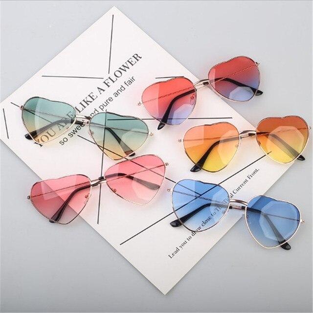 HAPTRON-lunettes de soleil en forme de cœur pour femmes, verres rouges transparents en métal, verres simples, tendance, miroirs