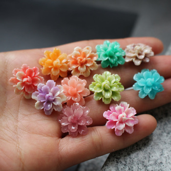 10Pcs 17mm Artificial Coral Polychrome  Double Layers Flower beads Multi-color Loose for Jewelry making