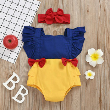 цена CANIS Summer Newborn Kid Baby Girl Clothes Backless Bowknot Ruffles Patchwork Bodysuit Jumpsuit Outfit Summer онлайн в 2017 году