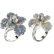 Big White Blue Flower Ring Luxury Female Charm Crystal Zircon Stone Engagement Ring Elegant Silver Gold Wedding Rings For Women(China)