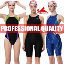 YINGFA-trajes de baño de entrenamiento de competición para mujer, rodillera profesional de carreras, talla única, FINA, aprobado, #925, 937, 921