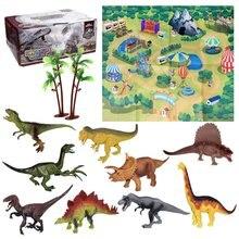 12 Piece Set Children'S Jurassic Dinosaur Tyrannosaurus Rex Toy Plastic Simulation Animal Model Boy Gift jurassic big dinosaur toy tyrannosaurus rex soft plastic animal model toy for children gift