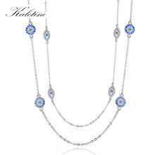 KALETINE 925 Sterling Silver Necklace Women Round Pendant Evil Eye Necklaces Blue Zircon Long Link Chain Turkey Jewelry 2019(China)