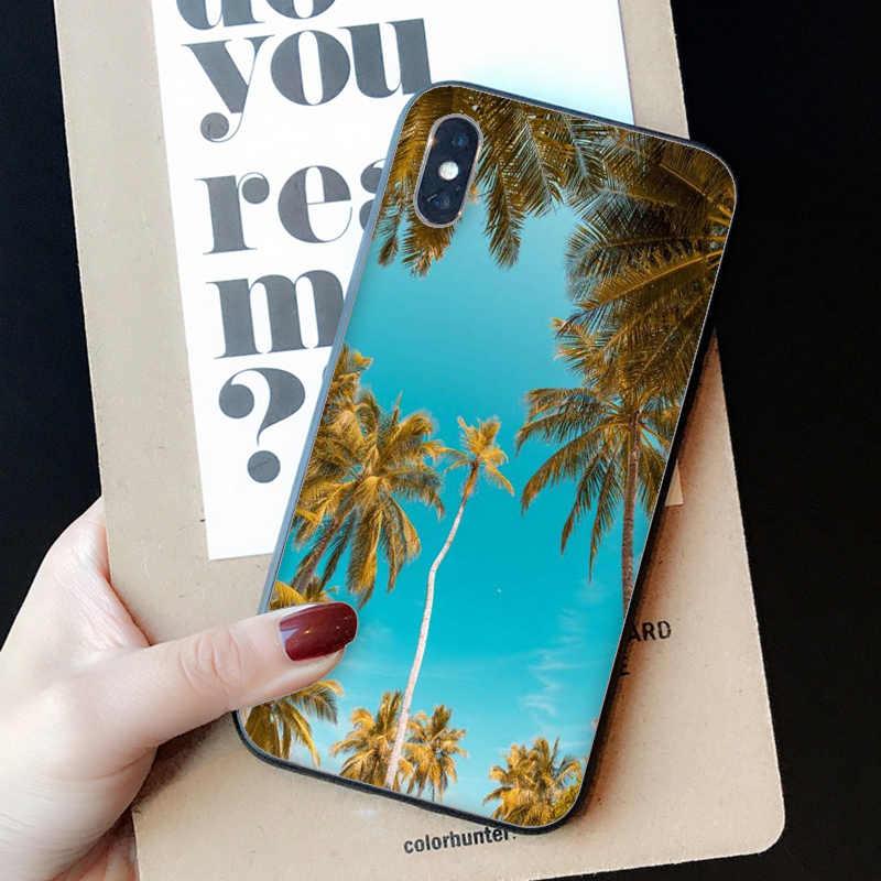 Folhas De Coqueiro Babaite sob o céu azul Coque Shell Caso de Telefone para o iPhone Da Apple 8 7 6 6S Plus X XS MAX 5 5S SE XR Casos Móveis