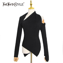 TWOTWINSTYLE Black Sweater For Women Irregular Collar Long Sleeve One Off Shouder Hollow Out Knitted Sweaters Female 2020 Style
