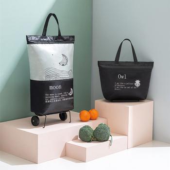 Składana torba na zakupy zakupy torba na koła wózkowe Oxford mała torba na zakupy damska torba na zakupy torba na zakupy organizator holownik tanie i dobre opinie USDROPSHIP CN (pochodzenie) WOMEN Floral Torby na zakupy zipper C023 moda
