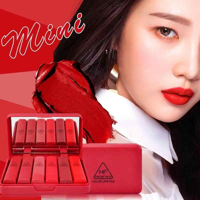 Czerwony serii 6 garnitury/zestaw matowy szminka błyszczyk długotrwała dyni kolory z lustrem usta makijaż narzędzia kosmetyczne nowy gorący