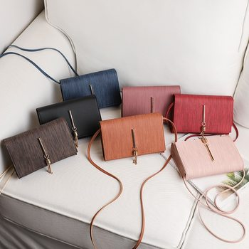 2020 Fashion Women Ladies Solid Simple Small PU Leather Crossbody Handbags Tassel Decor Casual Cellphone Shoulder Bags Purse image