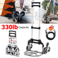 330lbs Stair Climbing Cart All Terrain Stair Climbing Hand Truck with Bungee Cord Portable Folding Trolley for Upstairs Cargo
