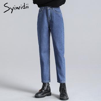 Syiwidii niebieskie dżinsy damskie w pasie spodnie dżinsowe czarny beżowy Vintage myte wysokiej talii dżinsy plus rozmiar dżinsy dla mamy 2020 moda tanie i dobre opinie COTTON Poliester Kostki długości spodnie CN (pochodzenie) Osób w wieku 18-35 lat women jeans Na co dzień Stripe Zipper fly