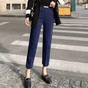 Image 3 - Pantalon crayon pour femmes, pantalon de bureau, taille haute, longueur cheville, bleu, Beige, noir, Harem, automne et printemps 2019