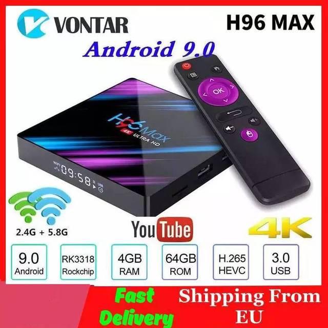 Vontar H96最大スマートテレビボックスアンドロイド9.0 4ギガバイトのram 64ギガバイトrom RK3318 1080 1080p 60fps H96Max 4無線lanメディアプレーヤーyoutubeセットトップボックス1G8G