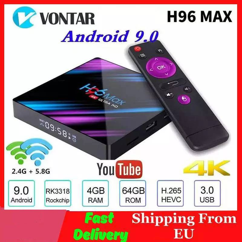 Vontar H96 MAX Smart TV Box Android 9 0 4GB RAM 64GB ROM RK3318 1080p 60fps H96Max 4K WiFi Media Player Youtube Set Top Box 1G8G