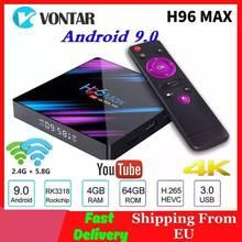Vontar reproductor multimedia H96 MAX dispositivo de TV inteligente, Android 9,0, 4GB de RAM, 64GB de ROM, RK3318, 1080p, 60fps, H96Max, 4K, WiFi, Youtube, 1 GB, 8 GB
