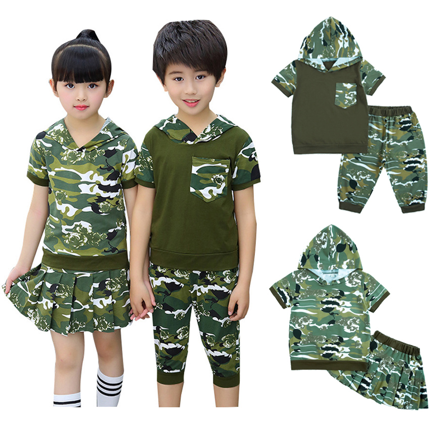 Student Kids School Training Army Suit Children Boys Military Uniform Summer Camouflage Hooded T-shirt+shorts/skirt Tactical Set