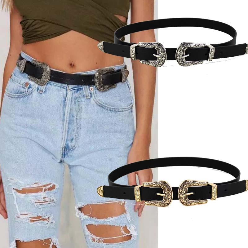 2020 Women Black Leather Waist Belt Metal Buckle Waistband Leather Double Buckle Waist Belt Waistband Belts For Women Female
