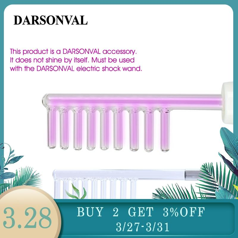 DARSONVAL 1Pcs High Frequency Facial Comb Glass Tube Hair Massager Electrode Wand  Purple Ray Beauty Machine For Face