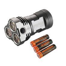 Manker MK34 LED Flashlight 8000 Lumen 12x Cree XPG3 / 6500LM 12x Nichia 219C LED + 3x High Drain 3100mAh 18650 Batteries (30A)