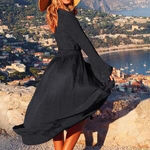 Image 2 - Vestido longo sexy de praia feminino, preto, túnica de praia, robe, cobertura de praia, maiô, saída pareos