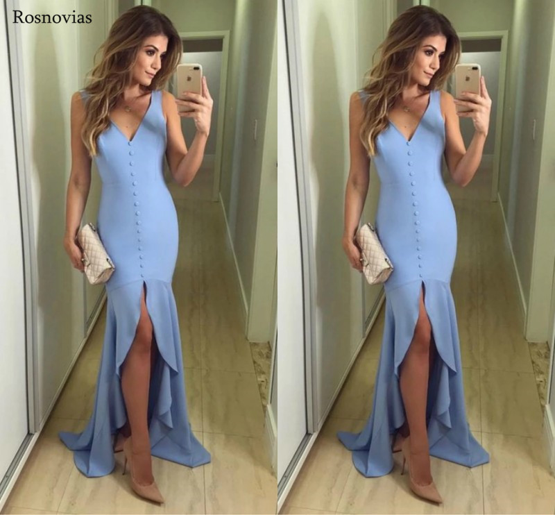 New Slim Fit Hi-Lo Mermaid   Prom     Dresses   2019 V Neck High Low Formal Evening Party   Dresses   Vestido De Fiesta Custom Cheap