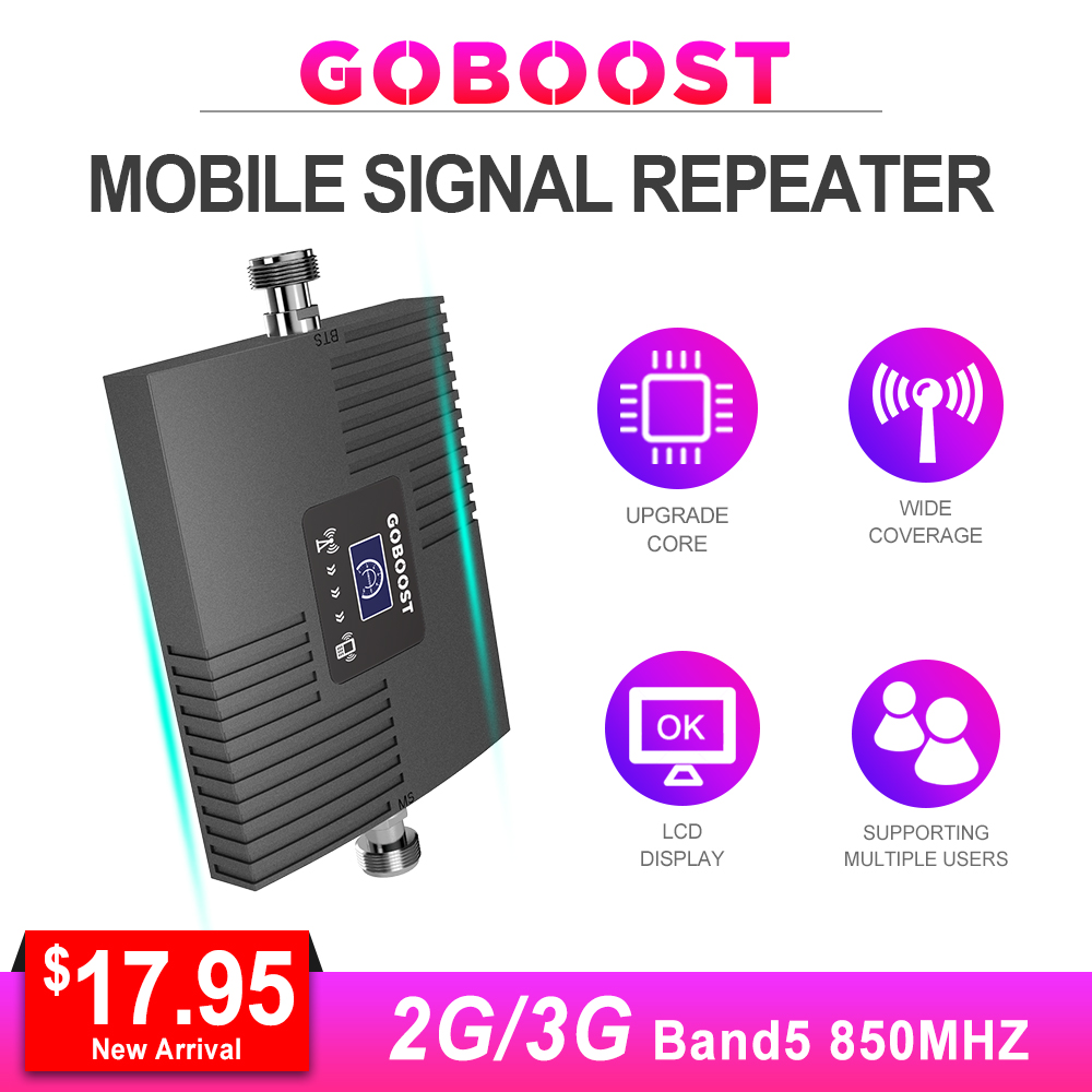 Signal Booster Mobile Phone 850mhz Booster CDMA GSM 2g 3g LCD Display Mini Amplifier Signal Network 65dB With Yagi Antenna  *