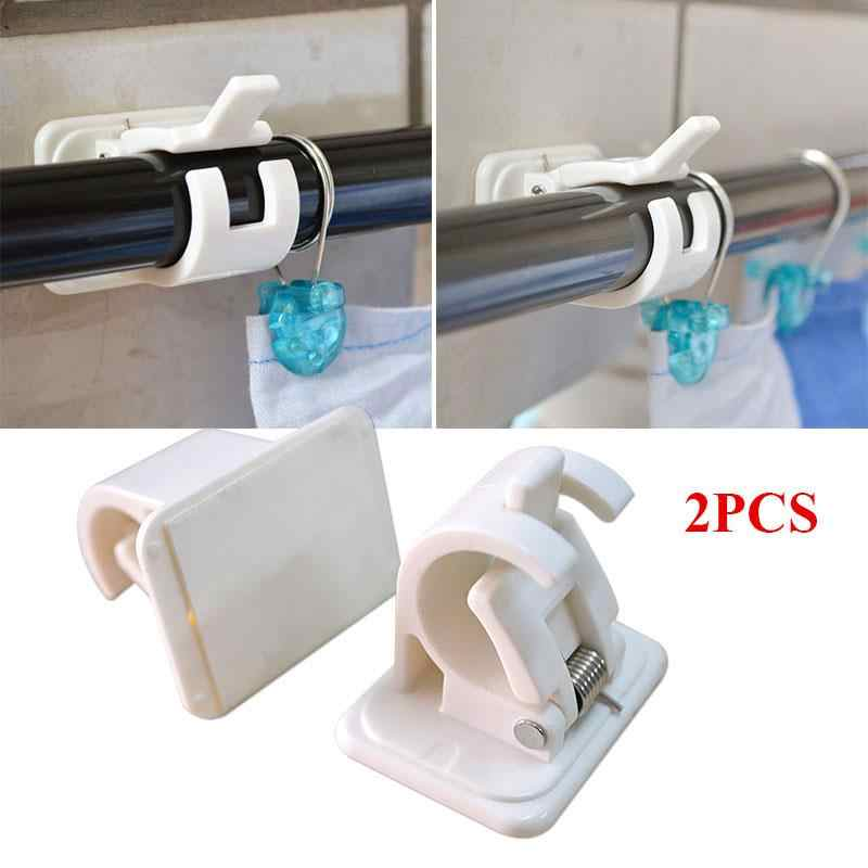 wall hooks rack curtain rod bracket 2pcs waterproof self adhesive towel tools plastic durable portable hang lever clamp shelf