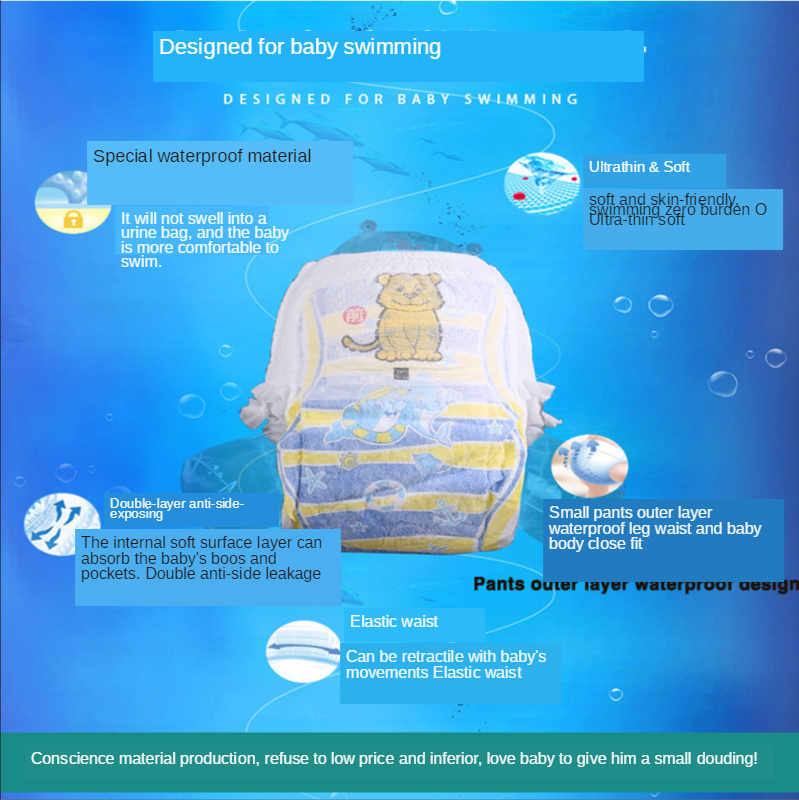 Купить с кэшбэком Baby Swimming Diaper waterproof pull-up pants swimming pool dedicated M.L.XL.XXL code  Diaper Comfortable safety