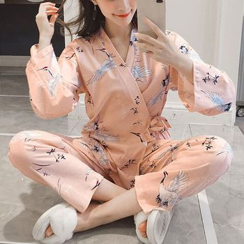 Women Homewear Suits Spring And Autumn Female Caroon Kimono Long Sleeve Top and Pants Pajamas Sets