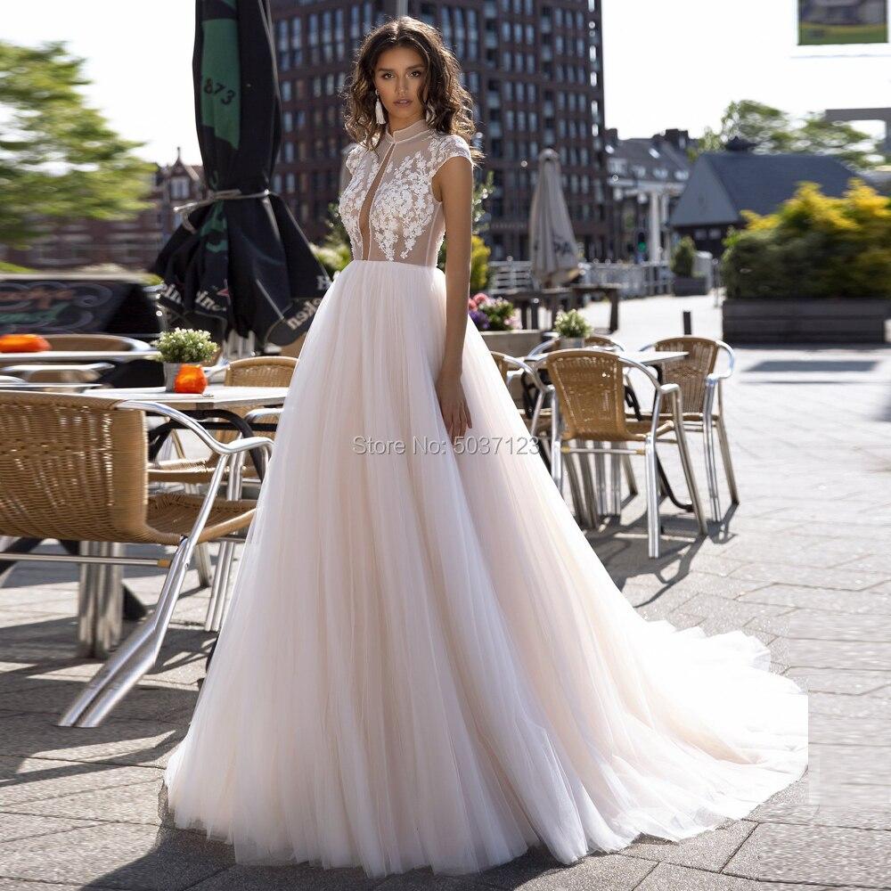A Line Wedding Dresses Tulle High Neck Cap Sleeves Button Illusion Bridal Gowns Vestido De Noiva Court Train