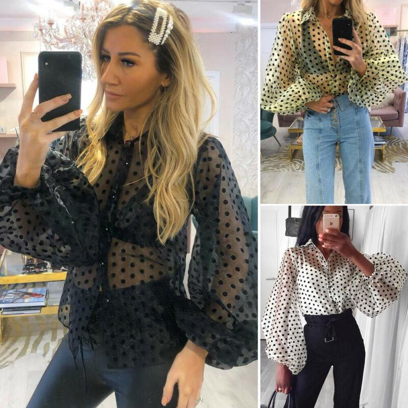 Women V Neck Puff Sleeve Polka Dot Tops Ladies Organza Button Blouse T-Shirt