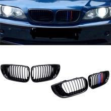Передняя решетка радиатора JIUWAN, 1 пара, автомобильные гоночные решетки M, цветные, 1 линия для BMW 3 серии E46, 4 двери 02-05 318I 320I 325I 330I