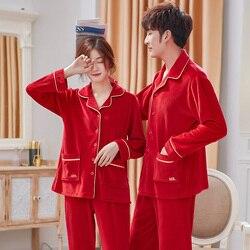 Праздничный красный бархатный пижамный комплект для влюбленных, одноцветная плотная Фланелевая Пижама для пар, пижама Hombre Pijama Mujer