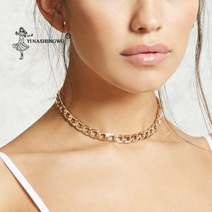 Choker Necklace Jewelry Collar Thick Chain Punk Miami Cuban Hip-Hop Statement Gold-Color
