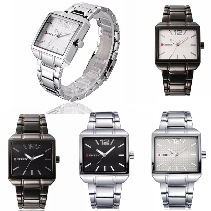 Man Stainless Steel Quartz Wrist Watches Square Analog Display Dial Watches Alloy Case Steel Strap Male Fashion Dress Watch