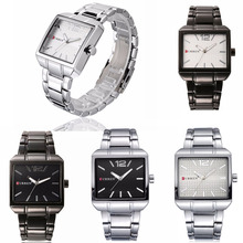 Man Stainless Steel Quartz Wrist Watches Square Analog Displ
