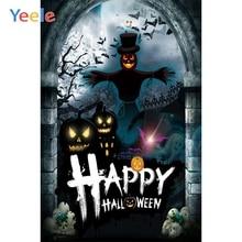 Yeele Halloween Backdrop Pumpkin lantern Skull Arched Door Scarecrow Photocall Photography Background Vinyl For Photo Studio цена
