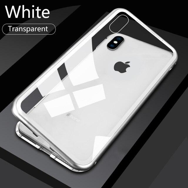 Металлический магнитный адсорбционный чехол для iPhone 7, 8, 6, 6s Plus, X, XR, закаленное стекло, задняя крышка на магните для iPhone 6, 6s Plus, X, XS, Max, чехол - Цвет: Transparent Silvery