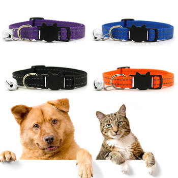 Solid Nylon Dog Collar Reflective Safety Buckle Pet Collar With Bell Adjustable Cat Puppy Collars Neck Strap Pet Supply image