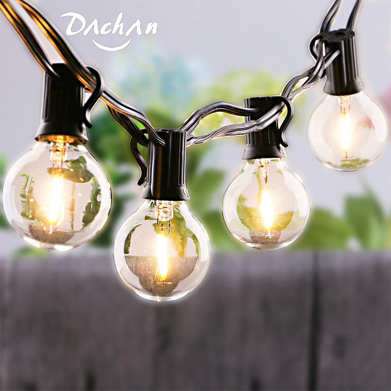 LED G40 Solar Garland LED Filament String Light Waterproof Indoor Outdoor For Garden  Christmas Holiday Wedding Lights String
