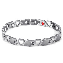 RainSo Magnetic Stainless Steel for Women Bio Energy Silver Bracelet Women Healing Therapy Wristbands 2019 Fashion Jewelry(China)