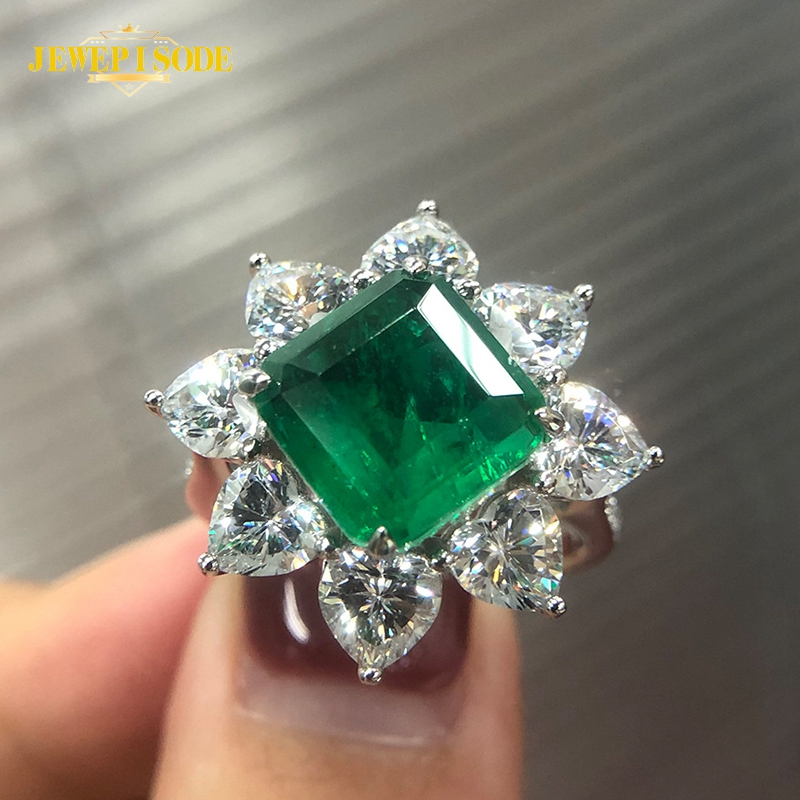 Jewepisode Top Quality 10MM Emerald diamond Rings Real 925 Sterling Silver Diamond Gemstone Ring for Women Party Fine Jewelry