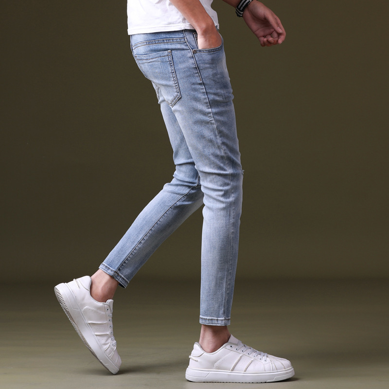 Spring New Style Slim Fit Men Capri Jeans With Holes Skinny Pants Teenager Fashion Cowboy 9 Pants 601