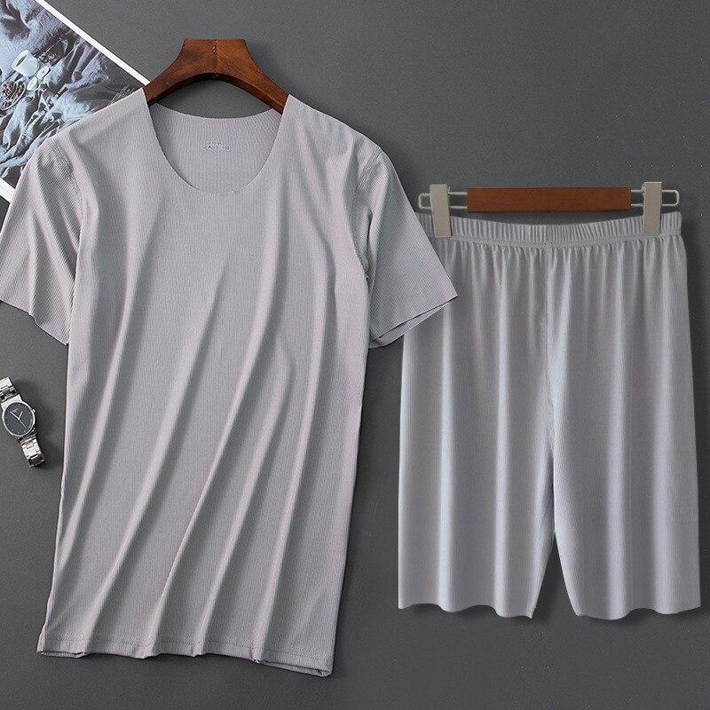 Мужские лед Шелковая пижама Однотонная рубашка и штаны, комплект из 2 предметов, пижамы Детский пижамный комплект на каждый день Мужская дом...