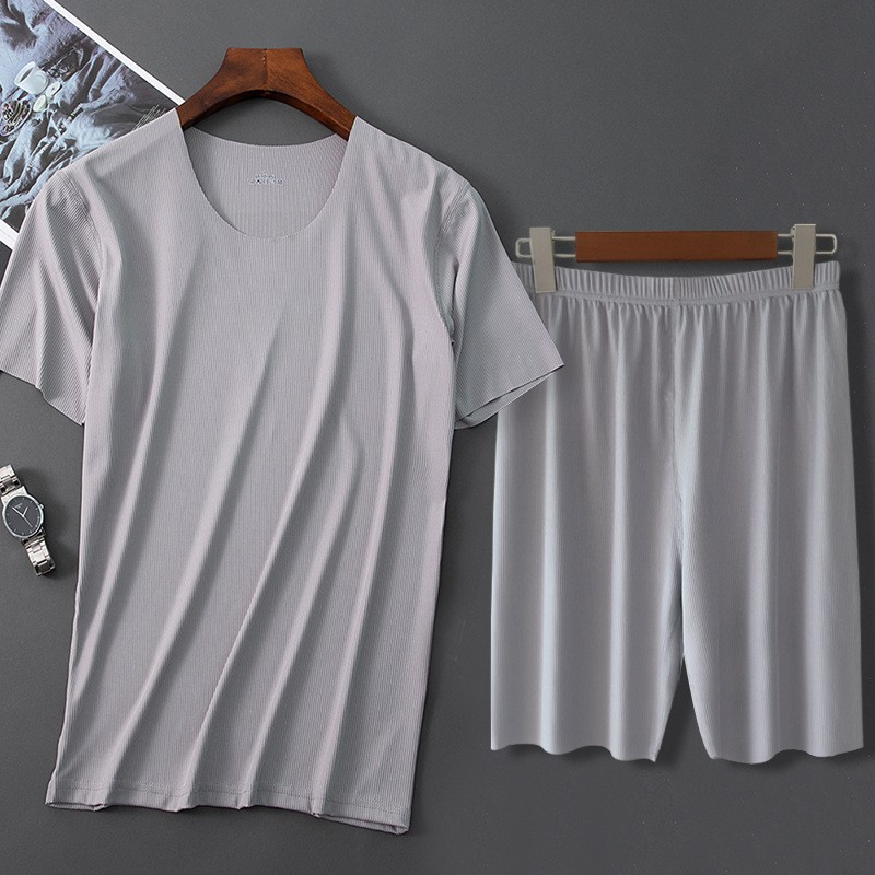 Men Ice Silk Pajamas Solid Shirt&Pant 2PCS Pijamas Sleep Set Casual Male Home Clothes Summer New Pyjamas Sleepwear Nightwear 4XL